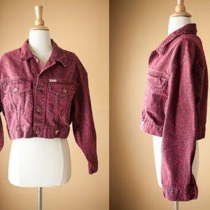 Vintage Guess Jeans Burgundy Denim Cropped Jacket